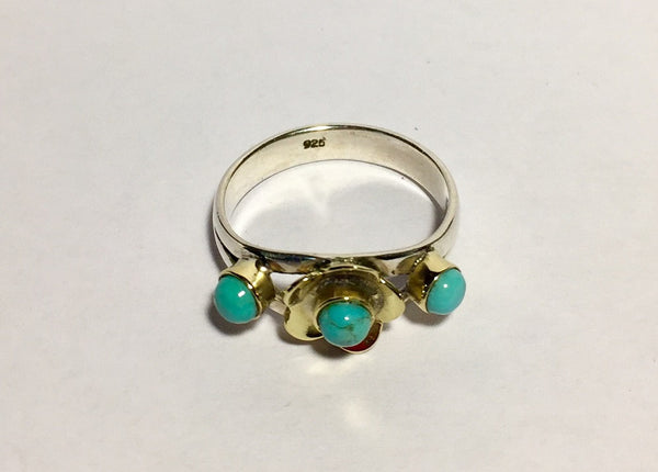 Sleeping Beauty Turquoise 2-Tone Flower Ring - Size 9