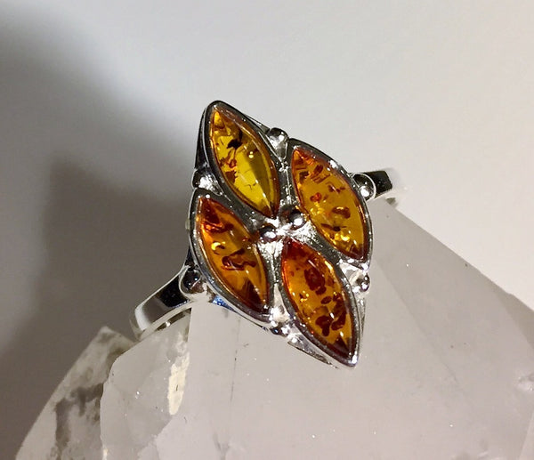 Baltic Amber Ring Diamond Shaped Silver - Size 10