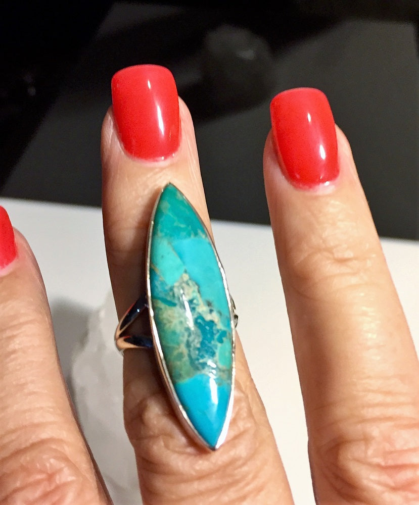 Long Sleeping Beauty Turquoise Ring - Size 6