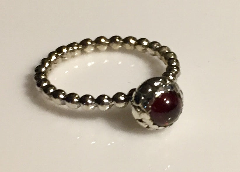 Garnet Bead Ring Size 6