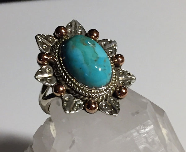 Sleeping Beauty Turquoise & Silver Leaf Ring - Size 6