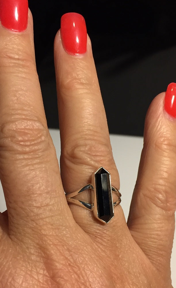 Faceted Black Onyx Ring - Size 7