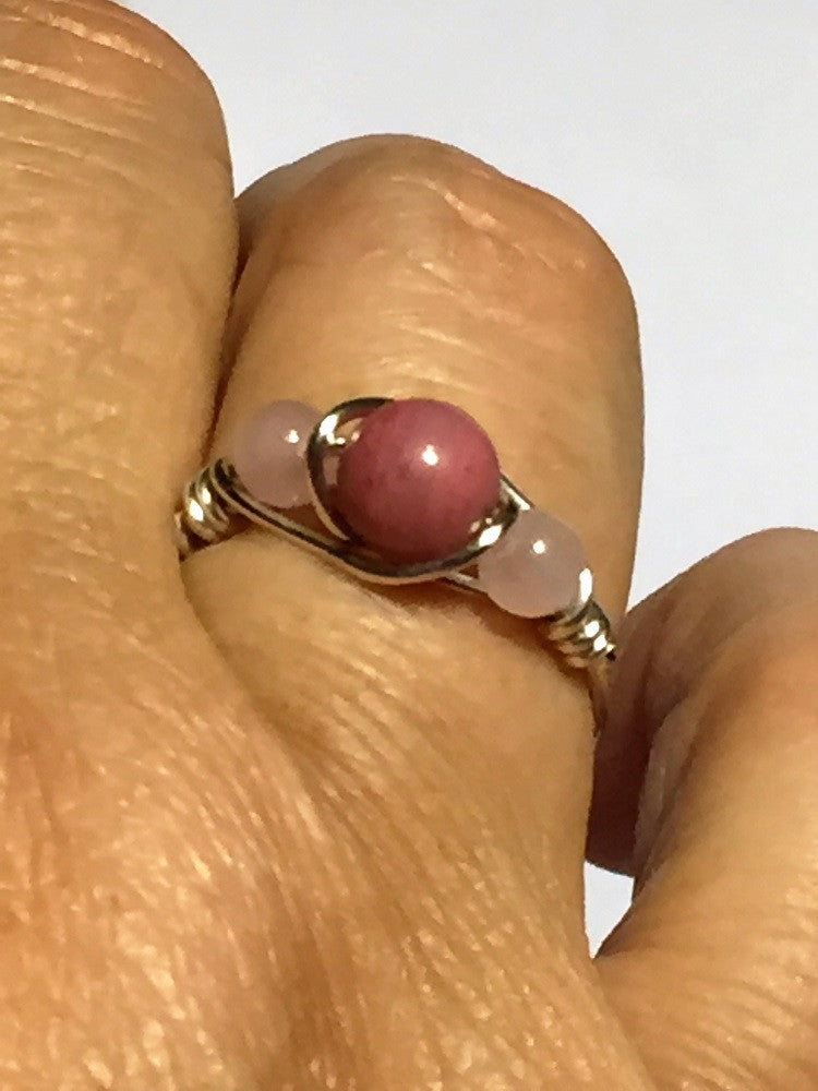 Rhodonite & Rose Quartz Wire-Wrap Ring
