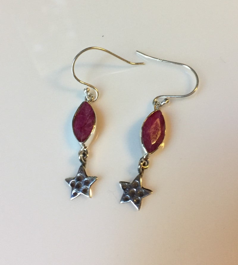Genuine Solid Silver Ruby Earrings with Star Charms