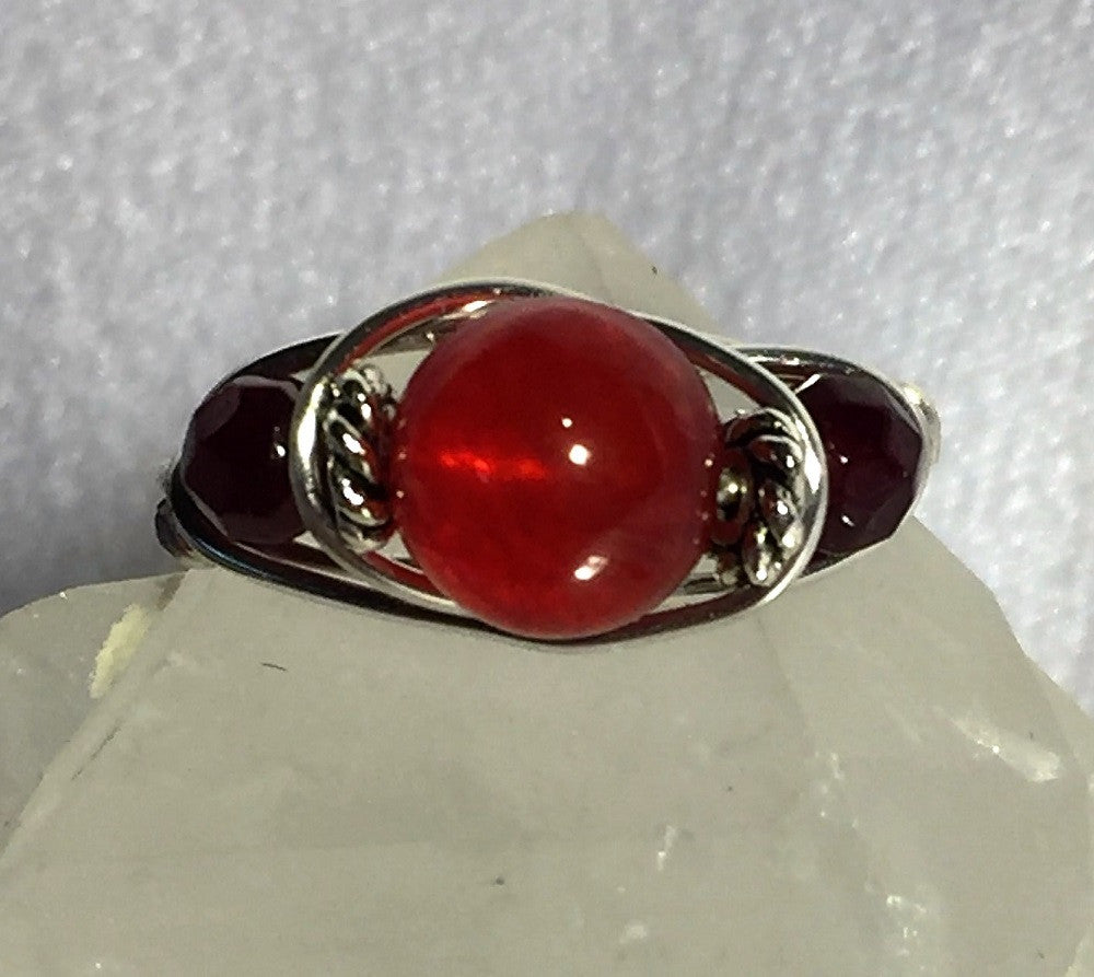 Ruby & Garnet Wire-Wrap Ring (January & July Birthstones)