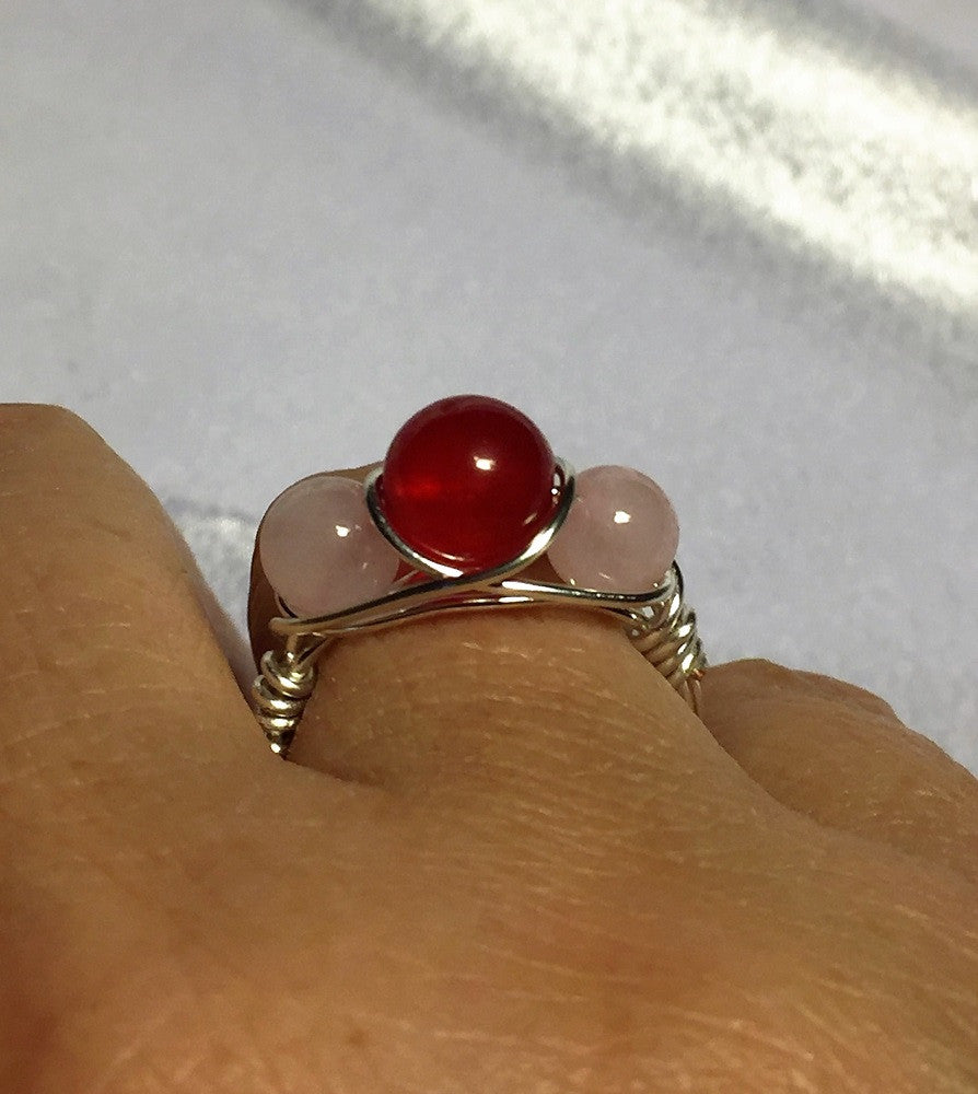 Ruby & Rose Quartz Wire-Wrap Ring