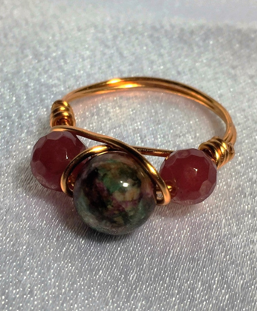 Ruby in Fuschite & Rubies Wire-Wrap Ring (July Birthstones)