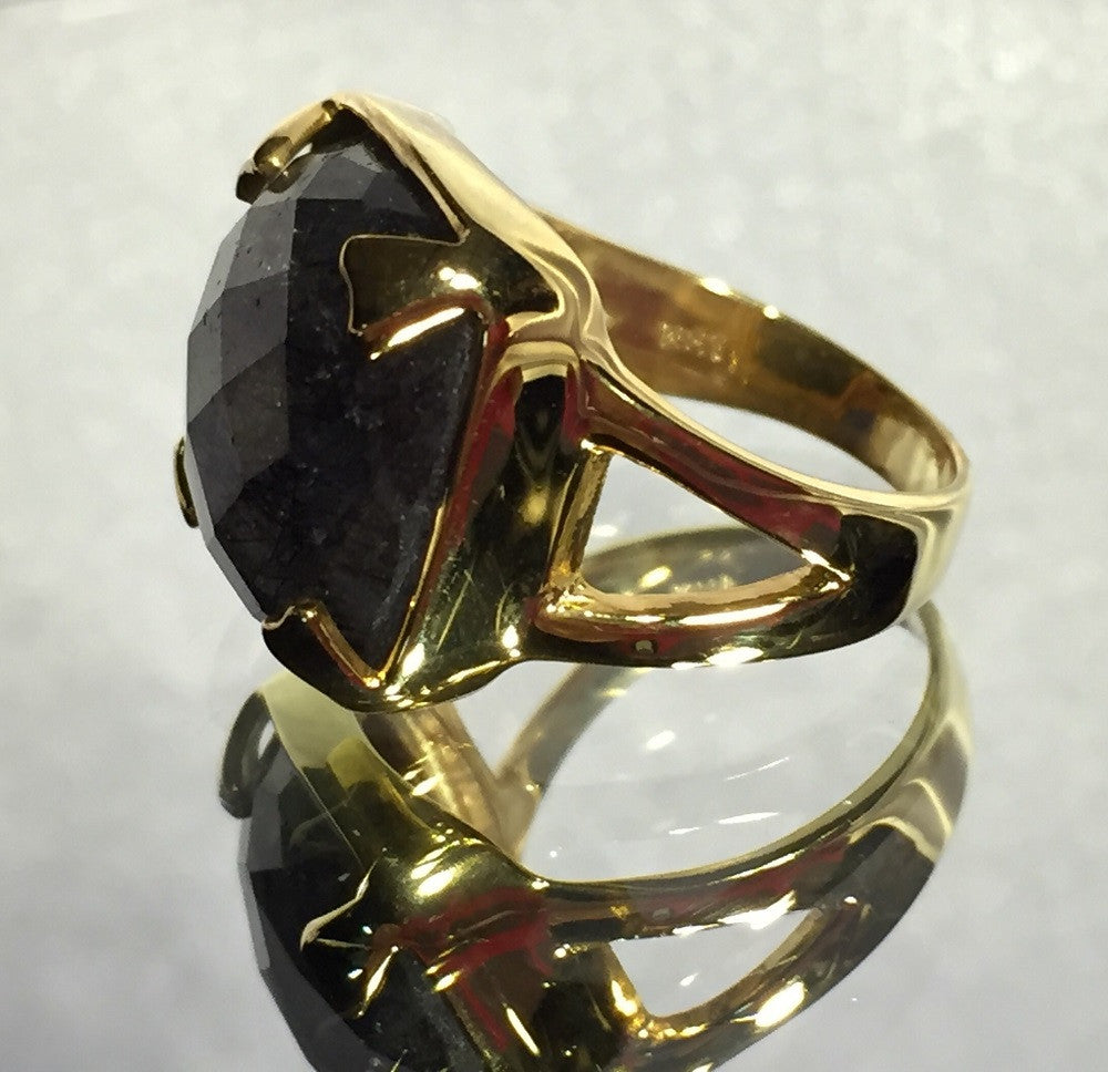 Rutilated Quartz in Gold and Silver Ring