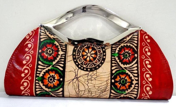 Genuine 100% Leather Shantiniketan Handmade Indian Clutch Purse