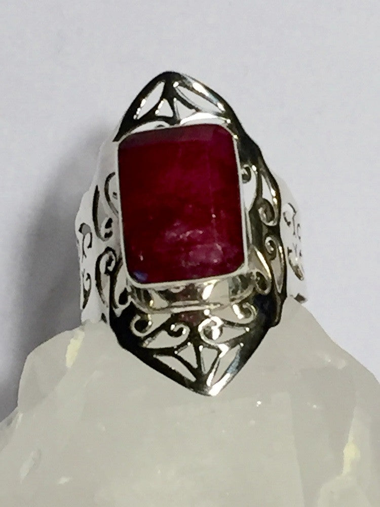Square Artisan Ruby Ring Size 10