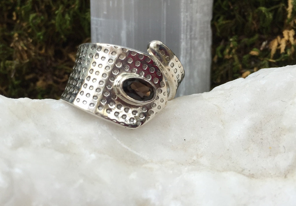 Ancient Smoky Topaz Ring Size 6.25