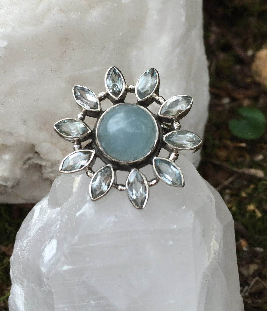 Fun Flower Aquamarine & Blue Topaz Ring Size 7