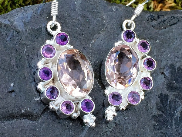 Half Moon Topaz and Amethyst Earrings