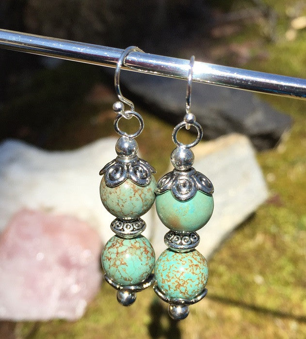 Tibetan Silver and Turquoise Howlite Ear Rings