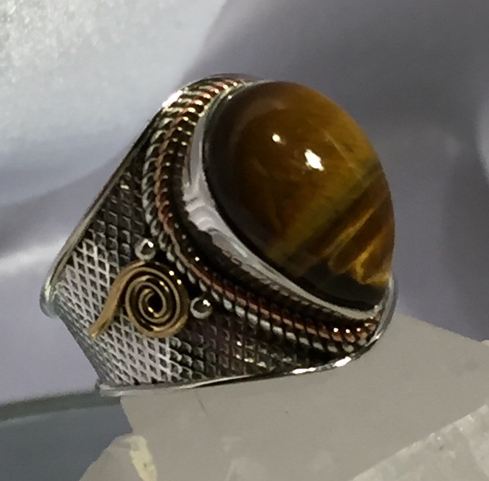 Two-Tone Tigers Eye Ring - Size 6.25