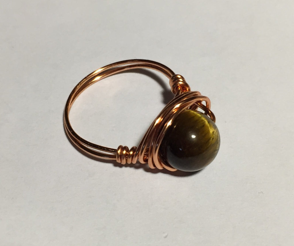 Tigers Eye Copper Nest Wire-Wrap Copper Ring