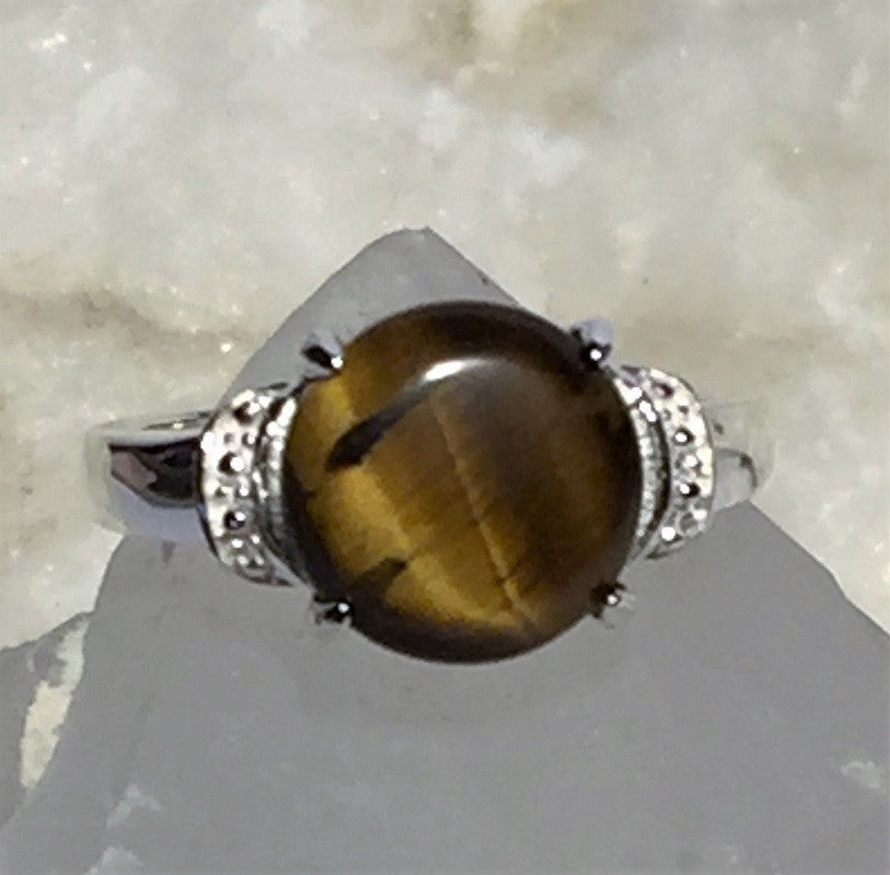 Tigers Eye Solid Silver Ring - Size 6