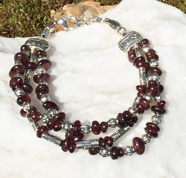 Tibetan Beauty Triple Garnet Bracelet