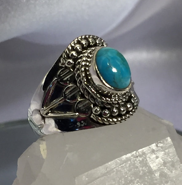 Turquoise Silver Ring - Size 8