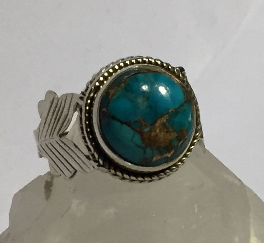 Fletching Blue Copper Turquoise Ring Size 7