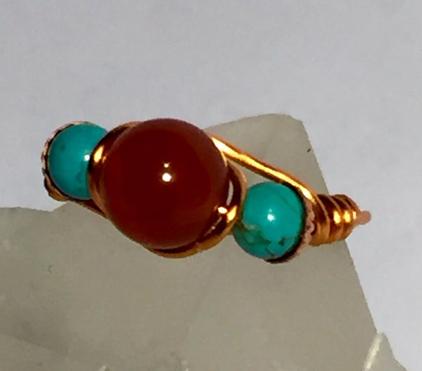 Carnelian &  Turquoise Wire-Wrap Copper Ring