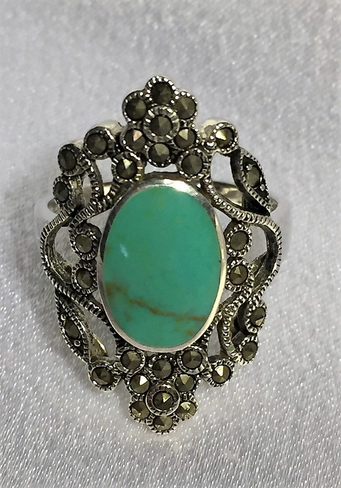 Ornate Marcasite & Turquoise Ring