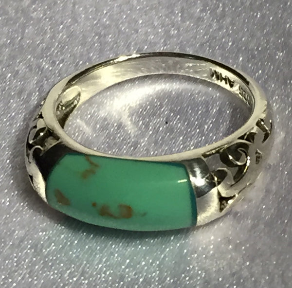 Reconstituted Turquoise Filigree Band