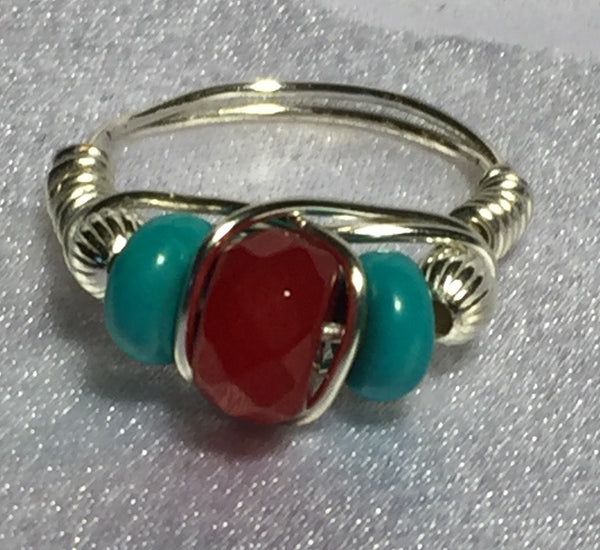 Turquoise & Ruby Wire-Wrap Ring (December & July Birthstone)