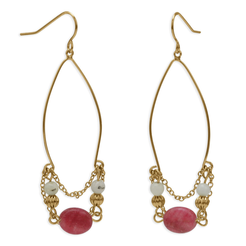 Gold Plated Pink & White Agate Drop Earrings