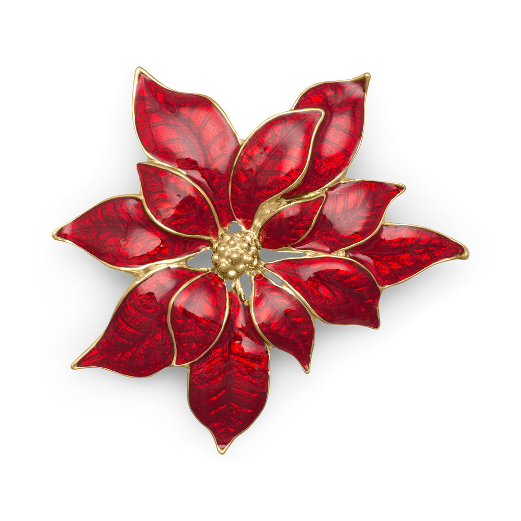 Christmas Poinsetta 14-Karat Gold Plated Pin
