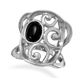 Lace Mystery Black Agate Ring