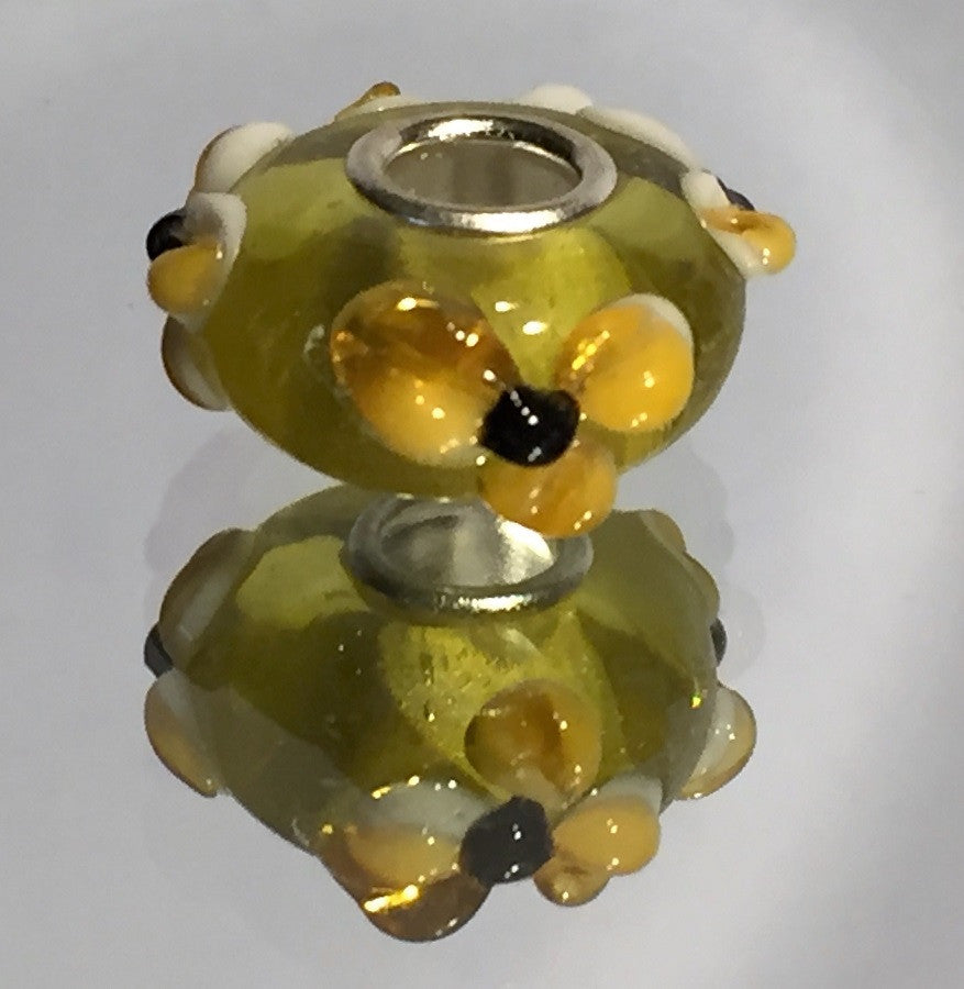Yellow Flower Lampwork Glass Charm Bead
