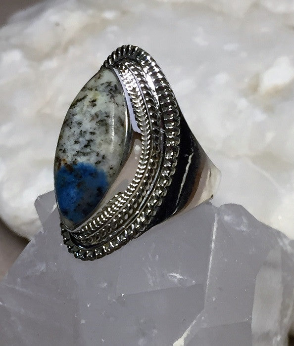 Azurite in Quartz Ring Size 7