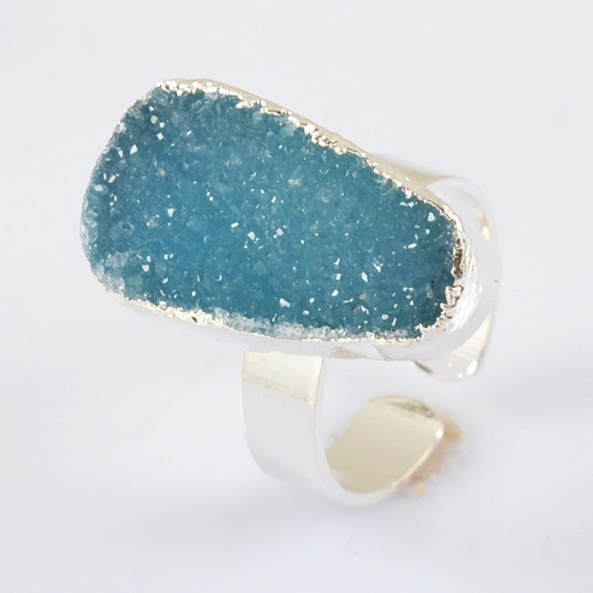 Blue Agate Druzy Ring - Size 7.5