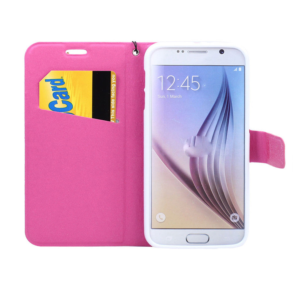 Galaxy S6 Edge Flip Wallet Eiffel Tower Pink Case