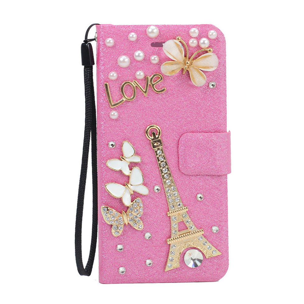 iPhone 6 4.7 New Crystal Flip Leather Wallet Case with Strap (Eiffel Tower)