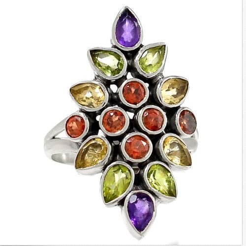 Gemstone Starburst Ring Size 7.5