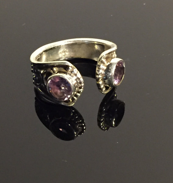 Ancient Scroll Amethyst Ring - Size 6.5 Adjustable