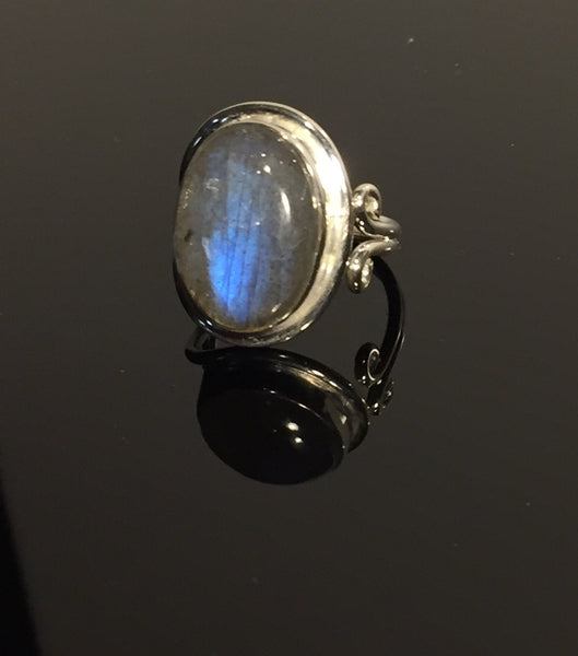Magic Blue Labradorite Ring - Size Adjustable