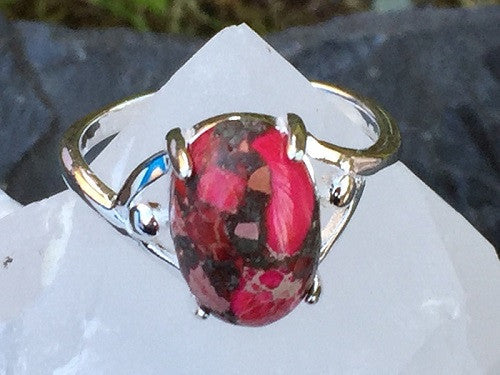 Pink Copper Turquoise Ring Size 7.75