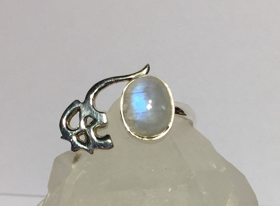 Om Sacred Moonstone Ring - Size 7.5