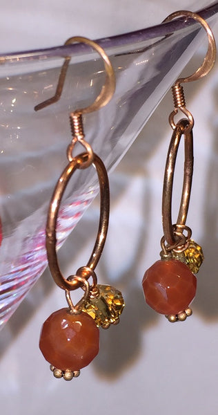 Copper Fire Agate Earrings