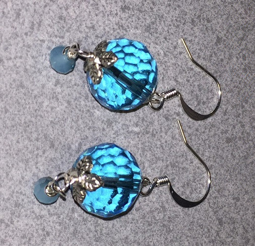 Blue Faceted Glass Earrings