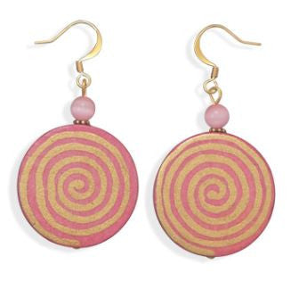 Psychedelic Pink & Gold Swirl Earrings