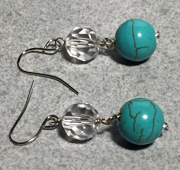 Blue Magnesite Ball and Crystal Earrings