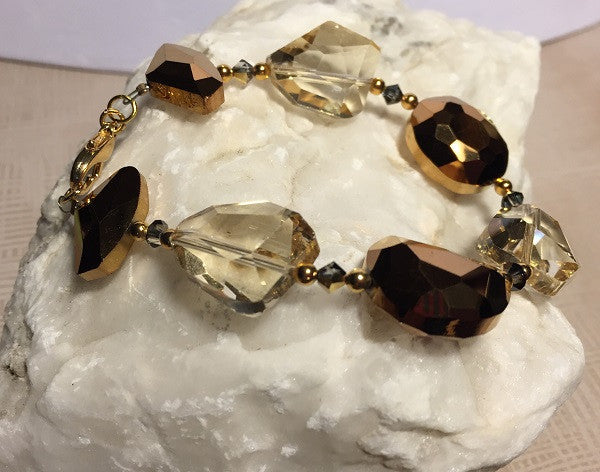 Abstract Gold Plated Metallic and Smoky Glass Bracelet