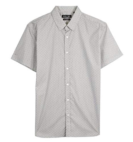Stitch Note Stripe and Diamond Print Short Sleeve Button Down Casual Shirt Grey