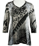 Cubism - Jungle Views, Burnout Side Panels V-Neck, 3/4 Sleeve Fashion Top