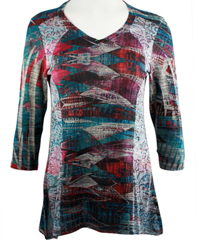 Cubism - Garment Flow, Burnout Side Panels V-Neck, 3/4 Sleeve Fashion Top