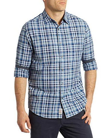 Flag & Anthem Clayton, Lightweight Plaid Single Pocket Long Sleeve Men's Shirt
